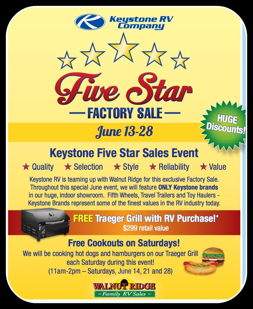 Five Star Keystone Sale | Walnut Ridge RV